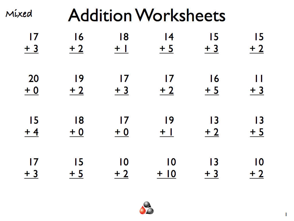 Addition Worksheets for Grade 1 a