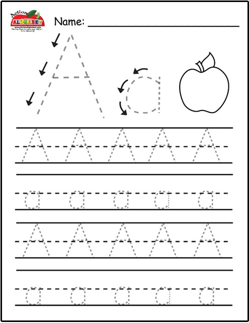 Trace Letter A apple