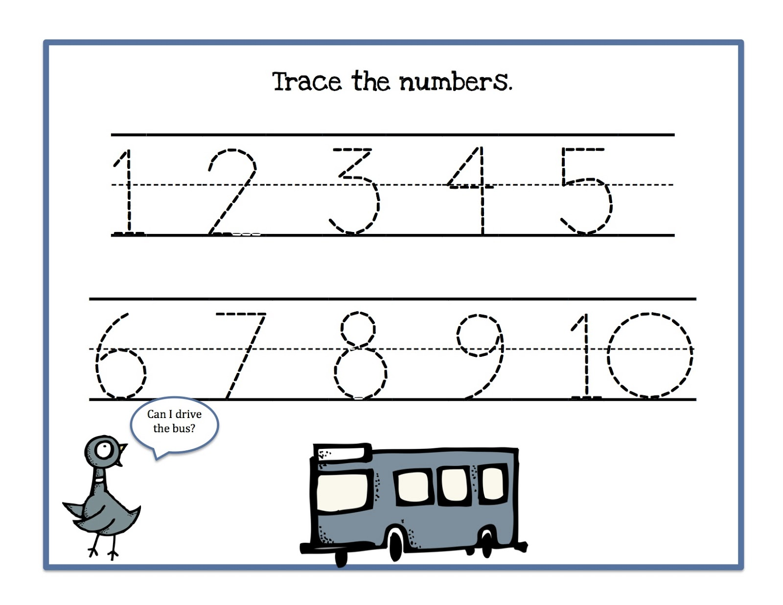 Tracing Numbers 1-10 a