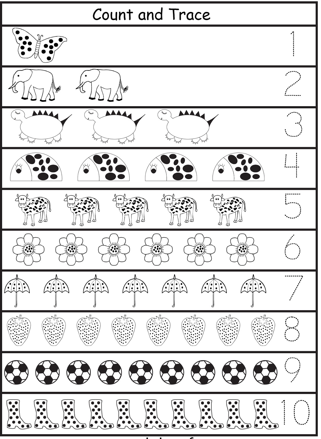 Tracing Numbers 1-10 c