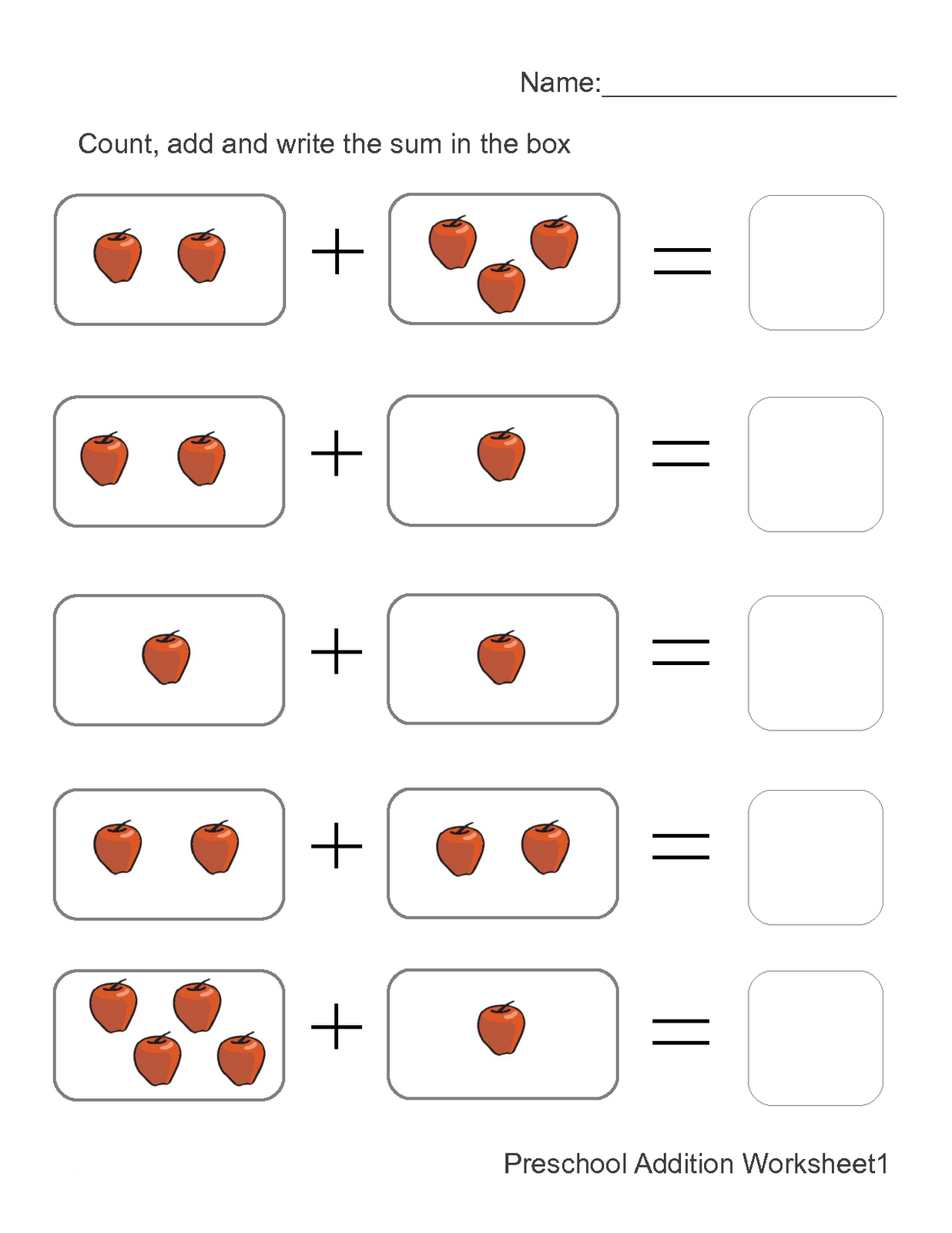 addition worksheets with pictures 1