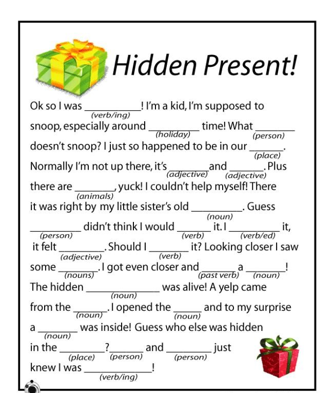 christmas activities for kids words
