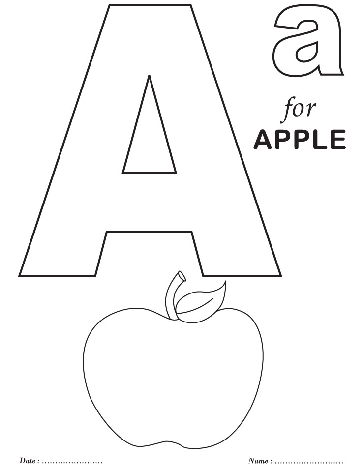 letter a printable apple