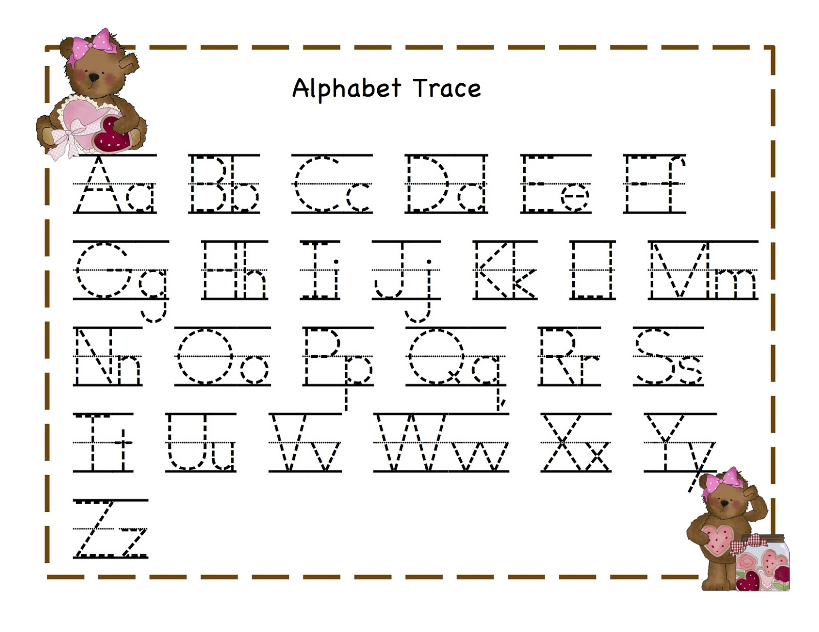 trace alphabet letters teddy