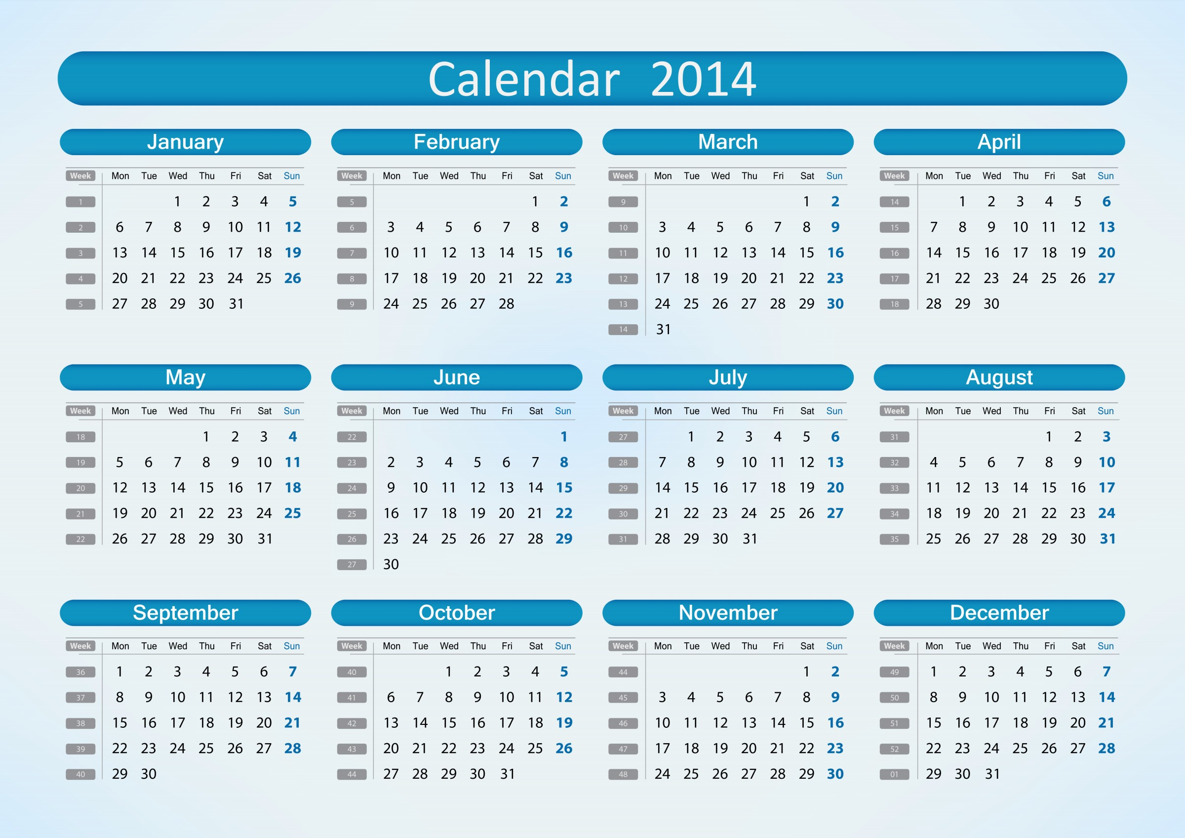 2014 Printable Calendar Pages 2