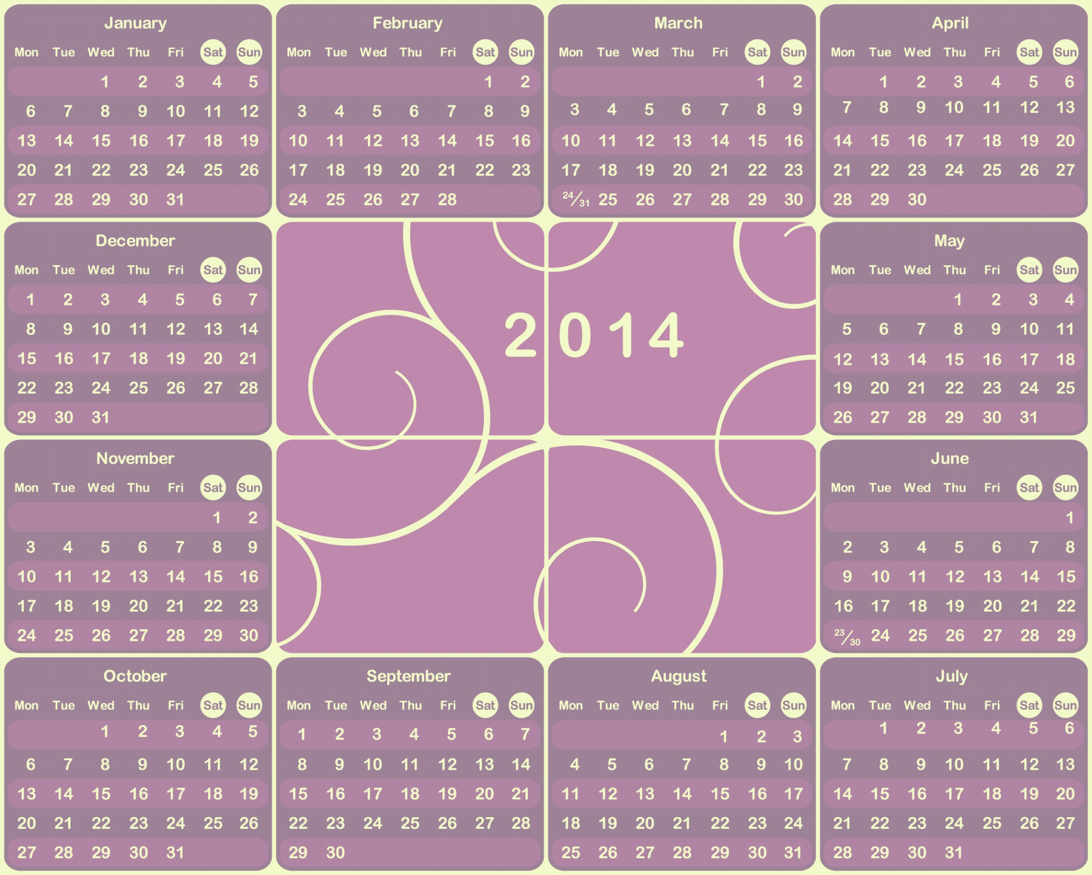 2014 Printable Calendar Pages 4