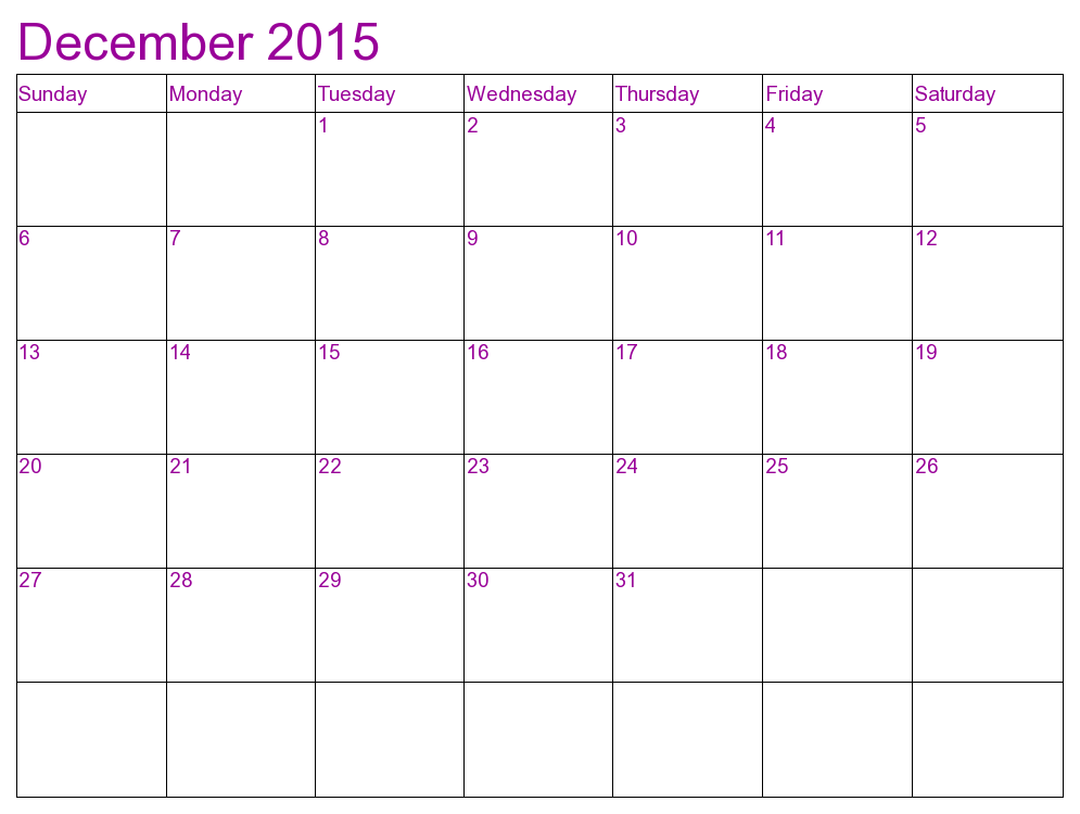2015 Calendar for your Personal Room 1