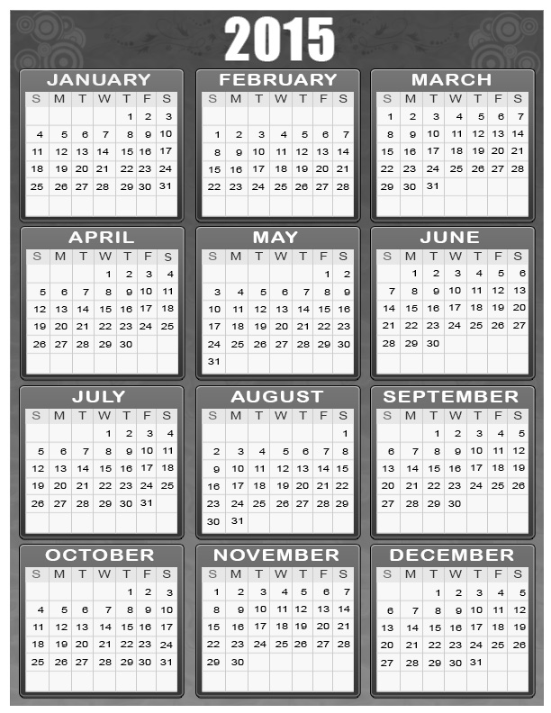 2015 Calendar for your Personal Room 2