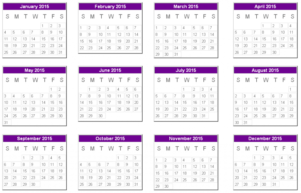 2015 Calendar for your Personal Room 5