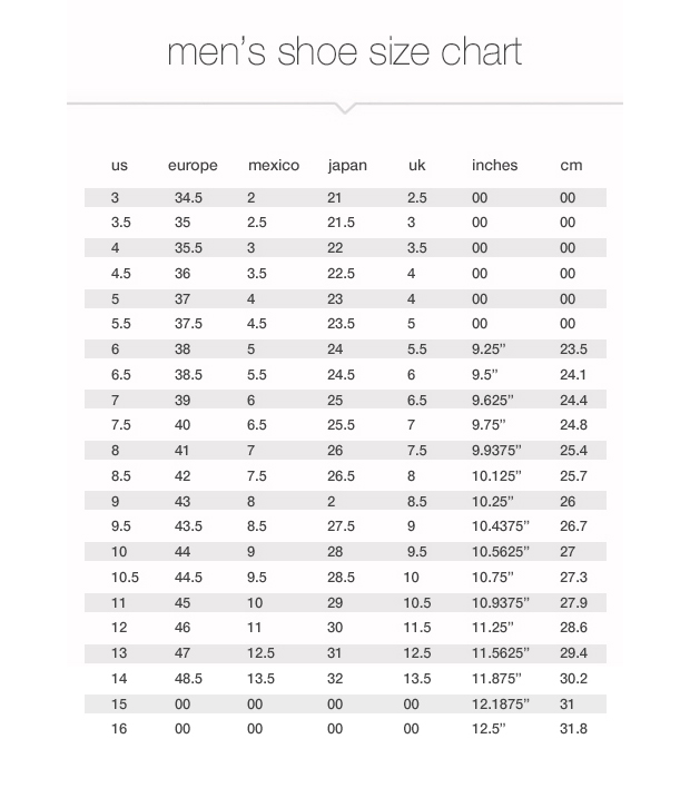 Mens Shoe Size Chart 3