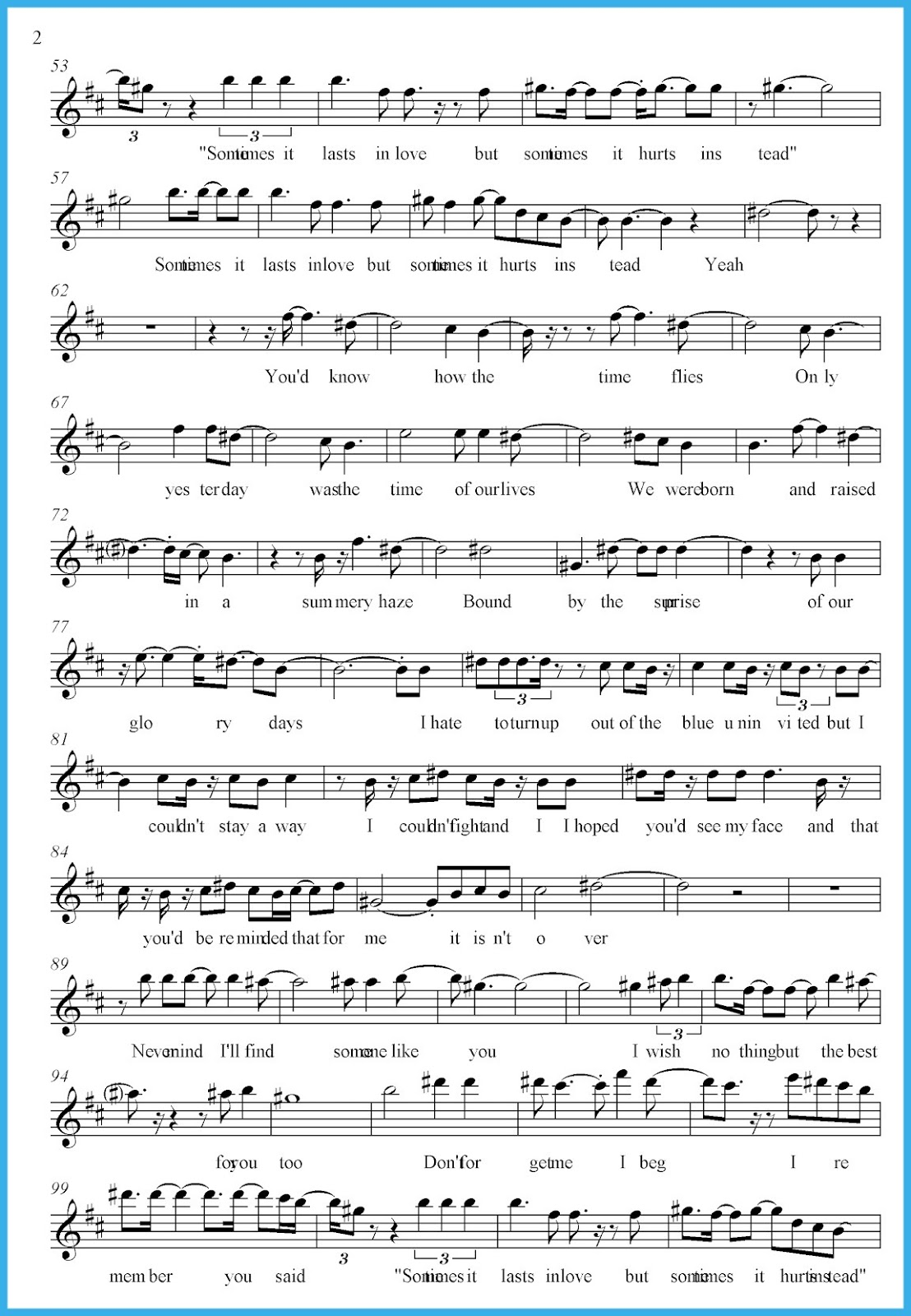 Someone Like You Sheet Music 2