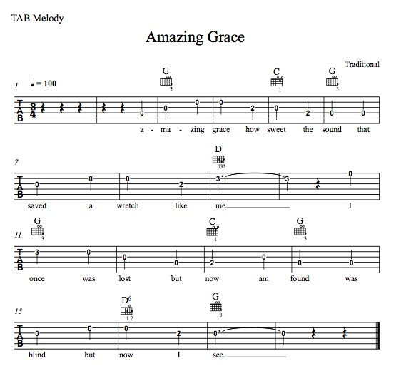 guitar chords for amazing grace 1