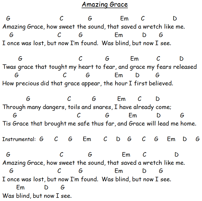 guitar chords for amazing grace 2