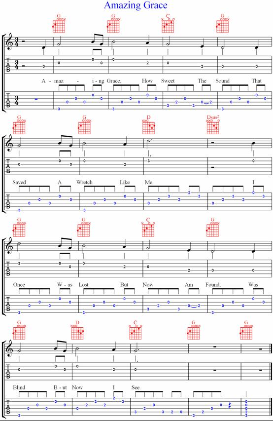 guitar chords for amazing grace 4