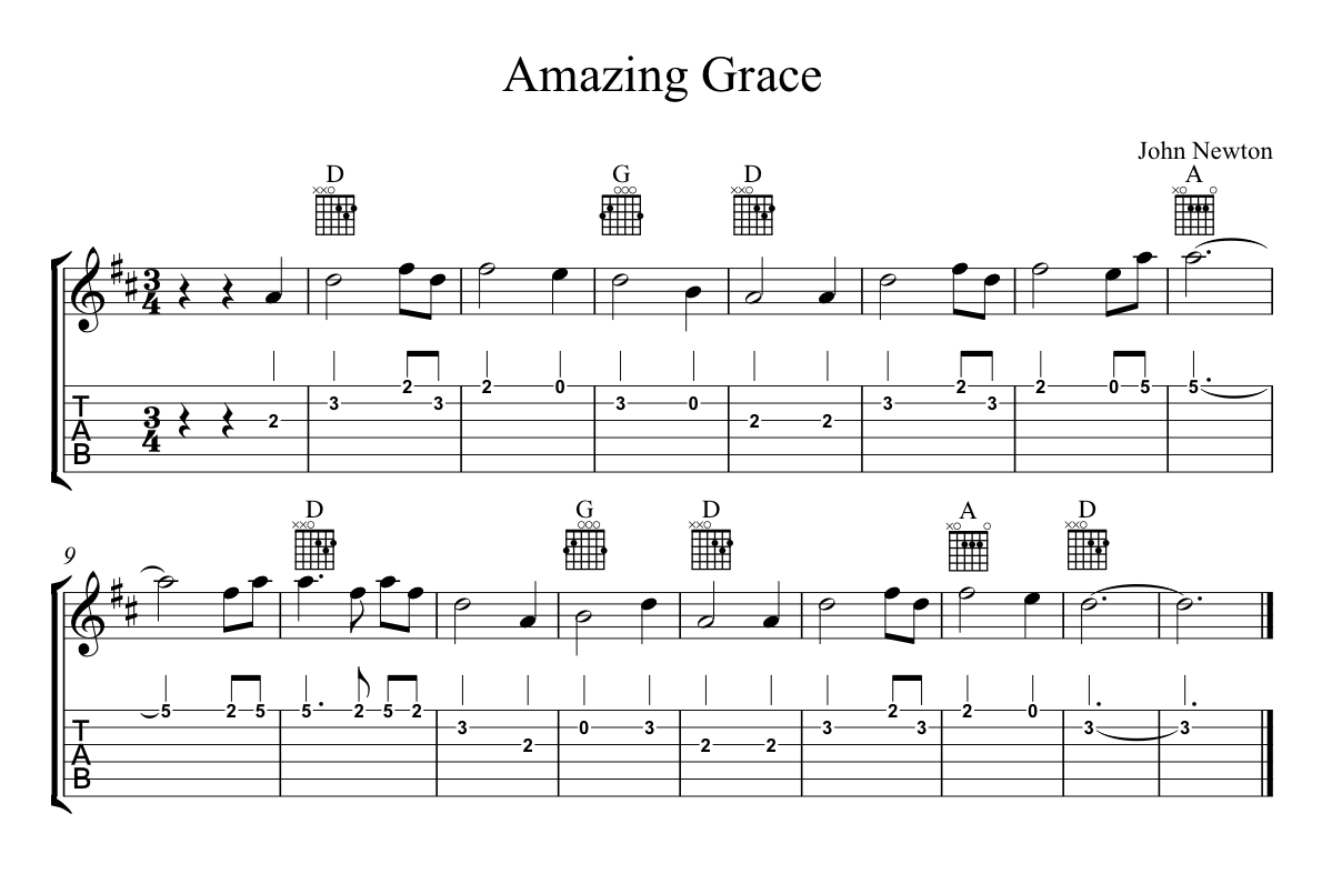 guitar chords for amazing grace 5