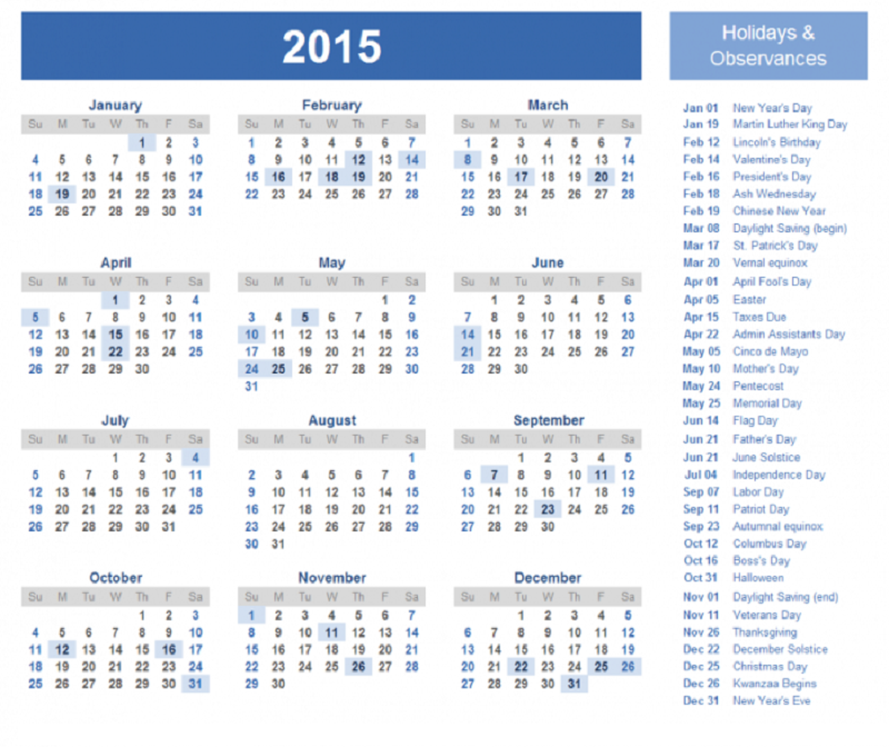 2015 Yearly Calendar With Holidays 3