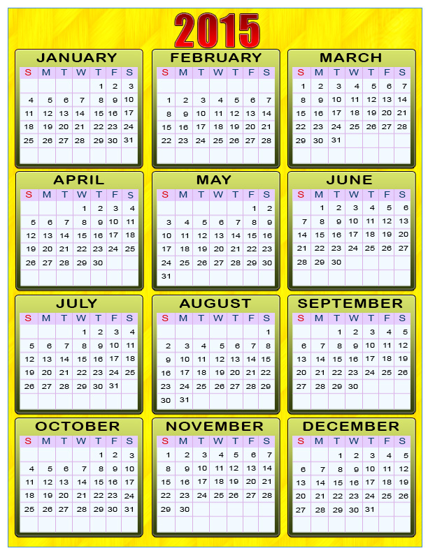 2015 Yearly Calendar With Holidays 4
