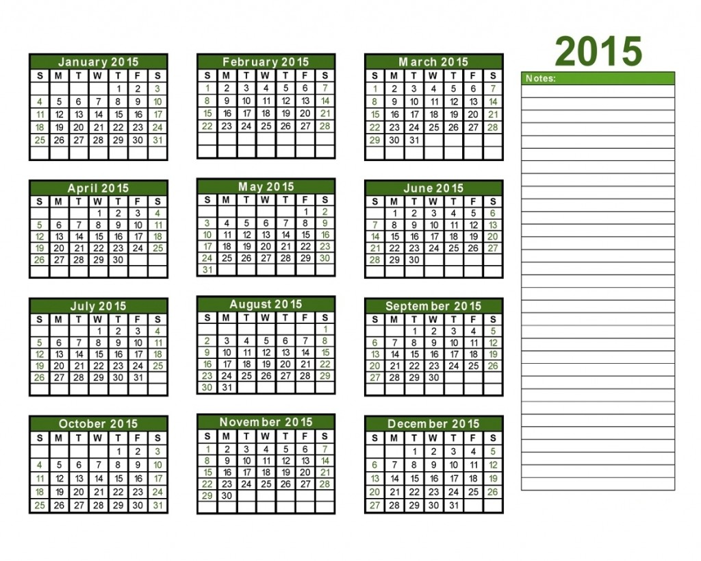 2015 Yearly Calendar With Holidays 6