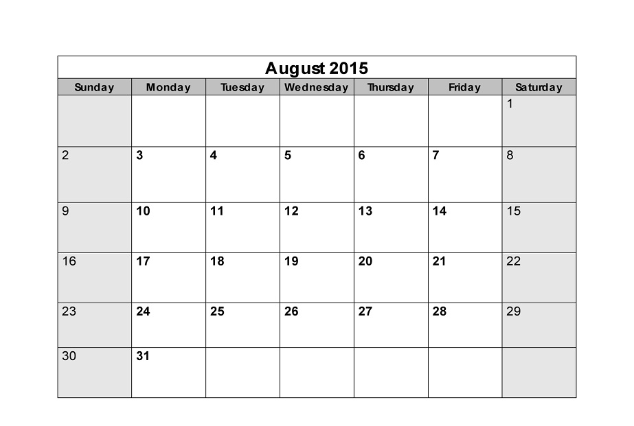 Blank Calendar Pages 2015 August