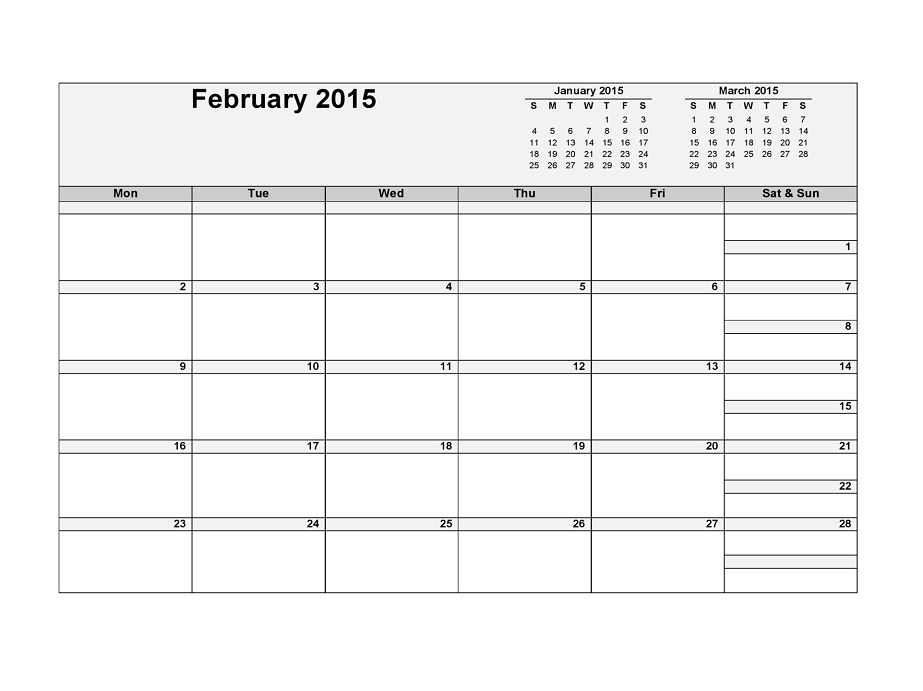 Blank Calendar Pages 2015 February
