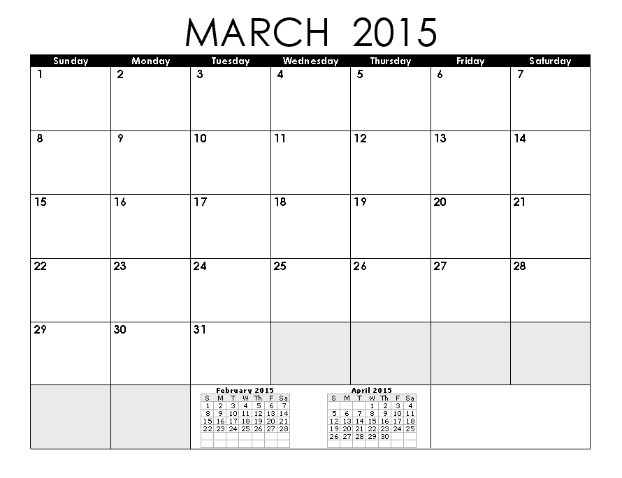 Blank Calendar Pages 2015 March