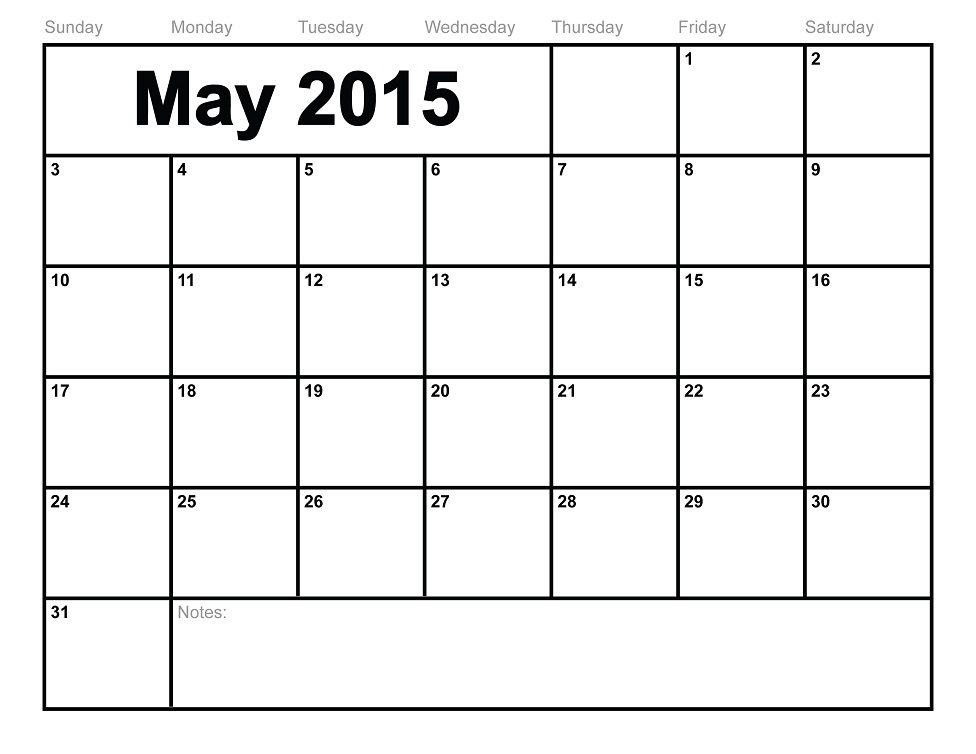 Blank Calendar Pages 2015 May