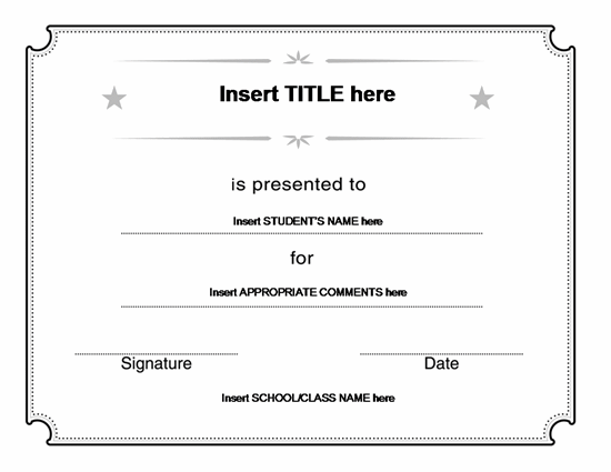 Blank Certificate Templates Office