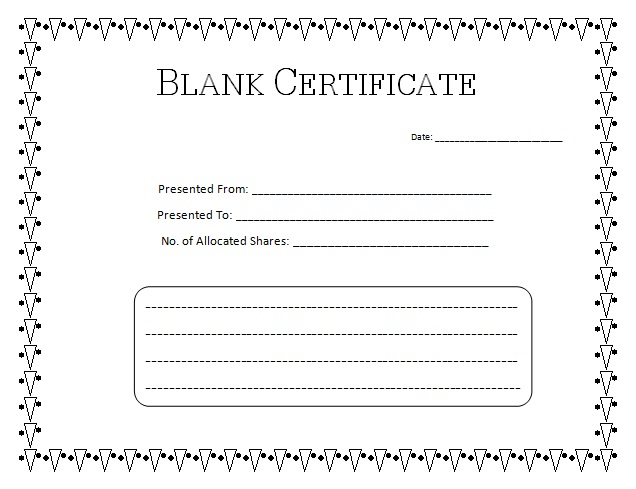 Blank Certificate Templates Simple