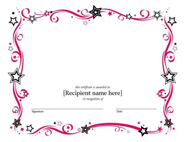 Blank Certificate Templates Word