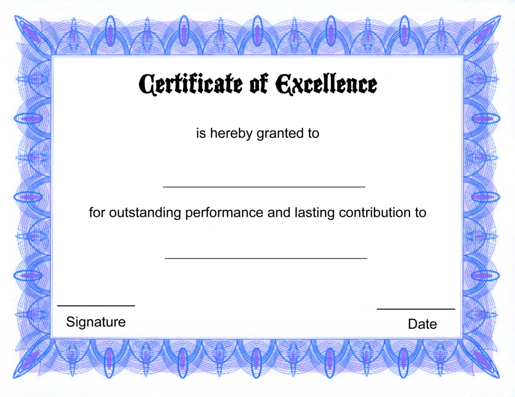 Blank Certificate Templates of Excellence