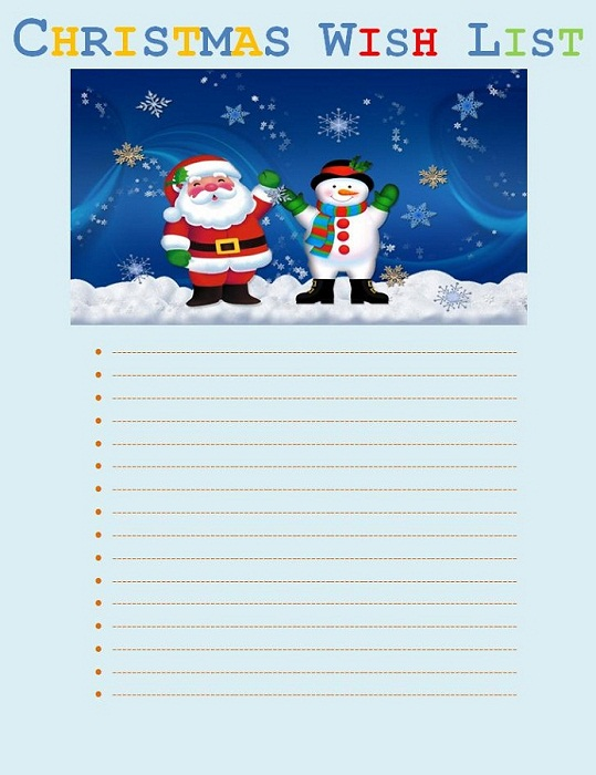 Free Printable Templates Christmas Wish list