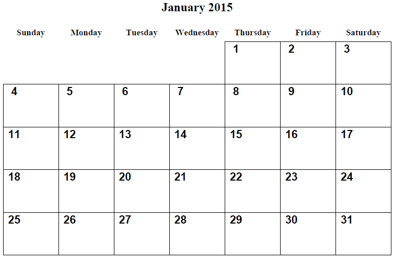 Monthly Calendar Printable 2015 January