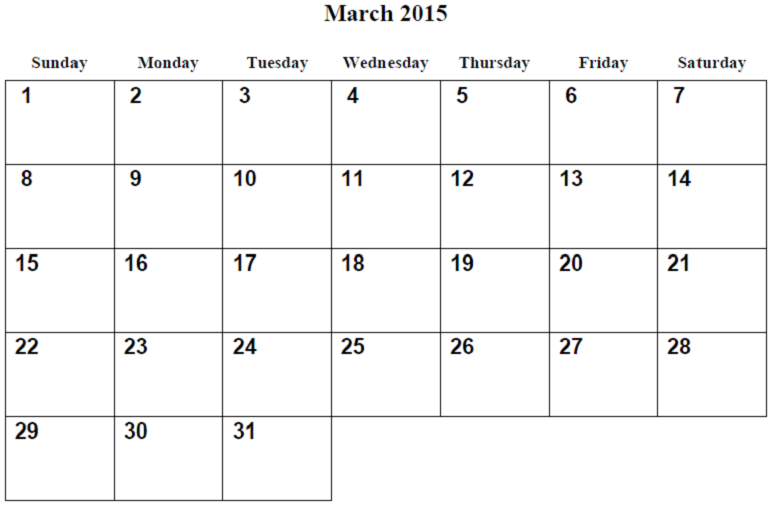 Monthly Calendar Printable 2015 March