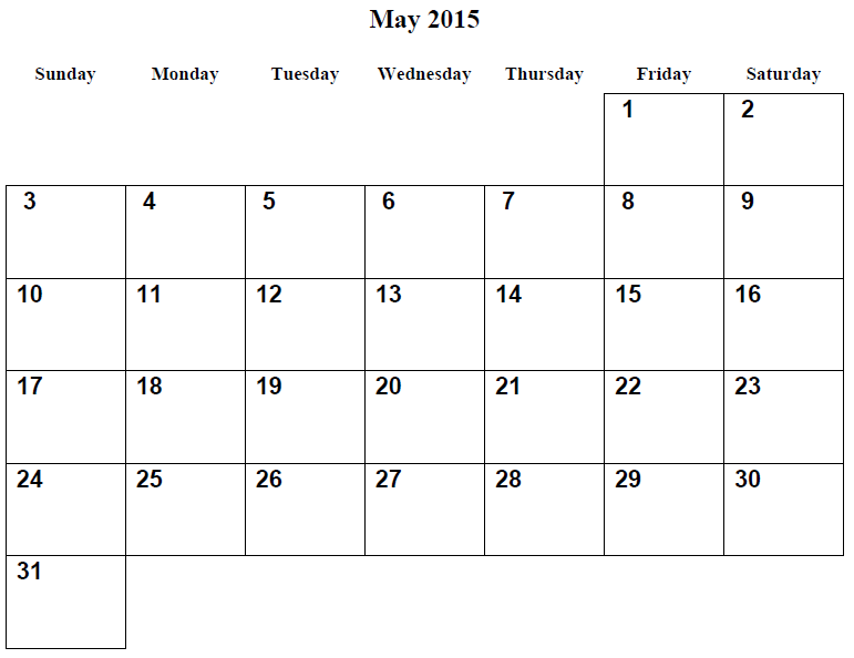 Monthly Calendar Printable 2015 May