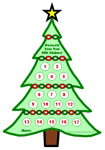 Reward Chart Printable Christmas Tree