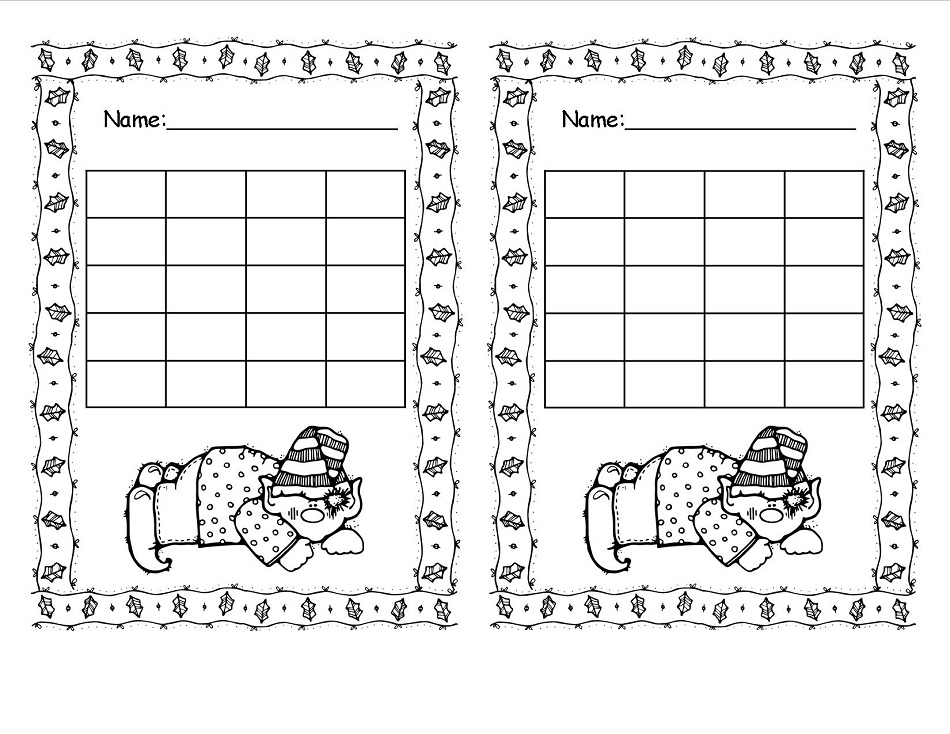 Reward Chart Printable Christmas to Color