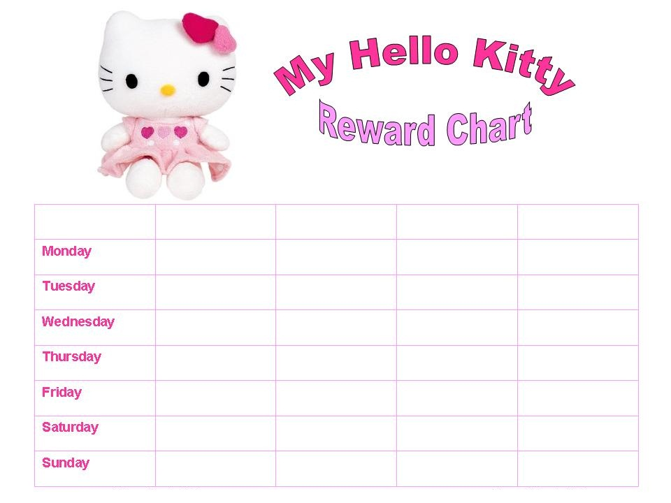 Reward Chart Template Hello Kitty
