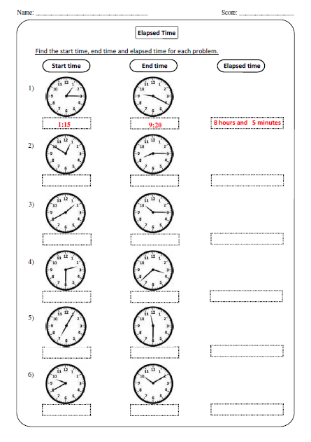 Elapsed Time Worksheets for Elementary Students