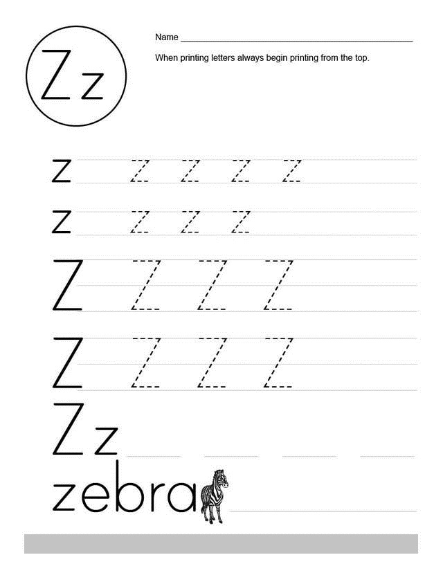 Letter Z Worksheets Activities