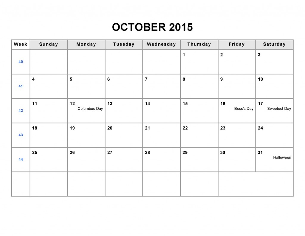 Printable Blank Monthly Calendar 2015 October