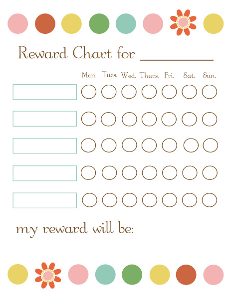 Printable Reward Chart for Teachers Weekly