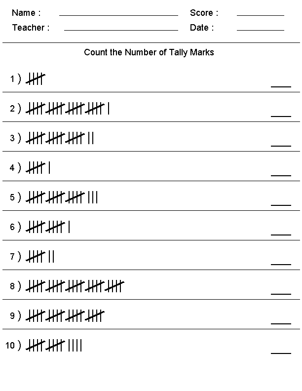 Tally Chart Worksheets Template