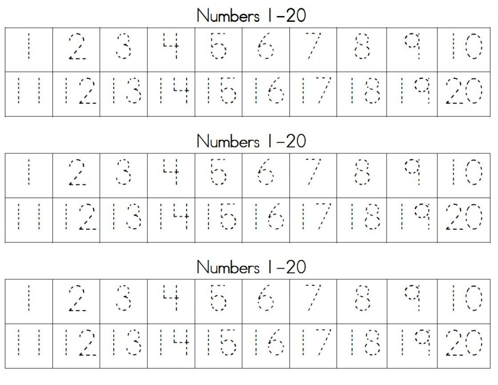 Trace Numbers 1-20 for Kids