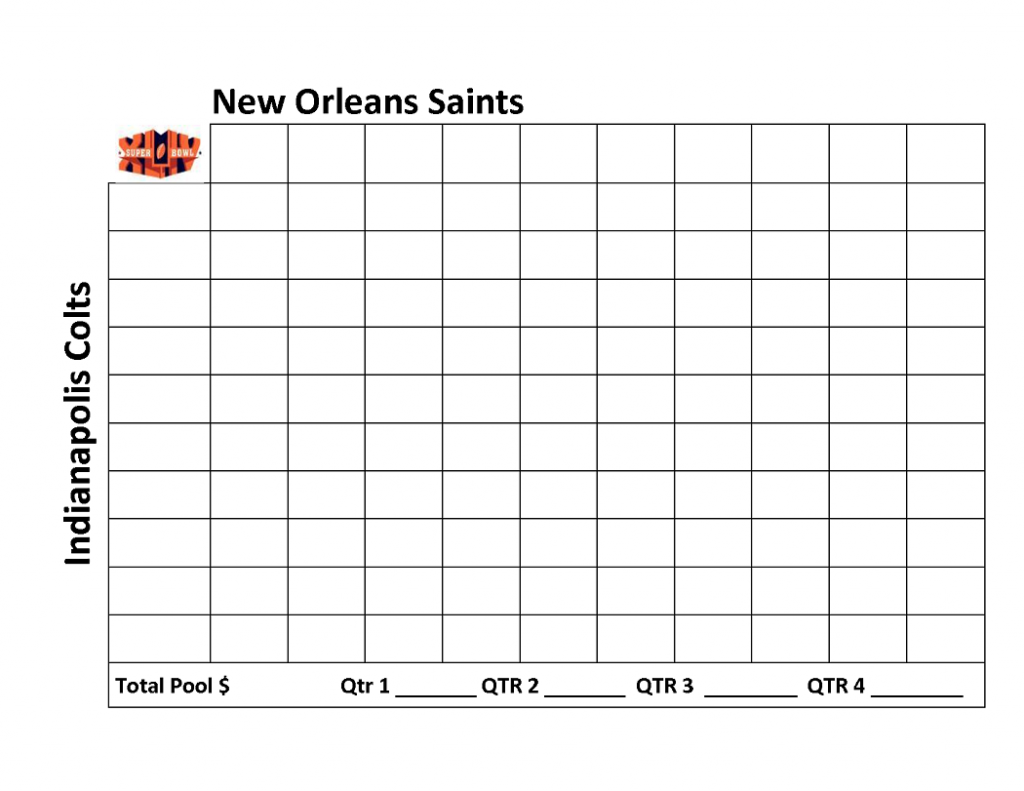 printable football squares New Orleans