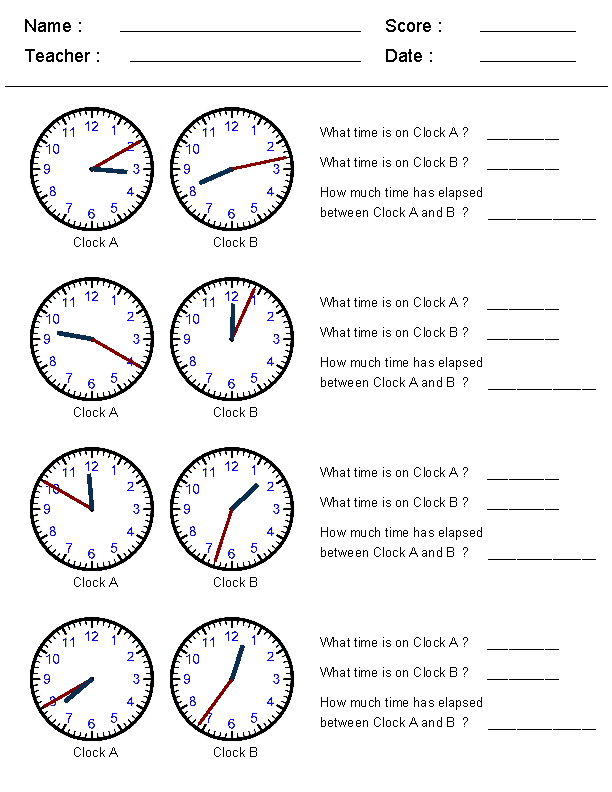 Free Elapsed Time Worksheets Table