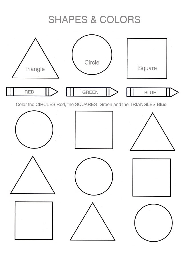 Free Shapes Worksheets to Color