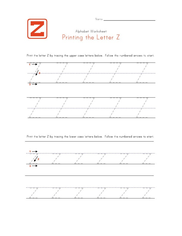 Letter Z Worksheet Traceable