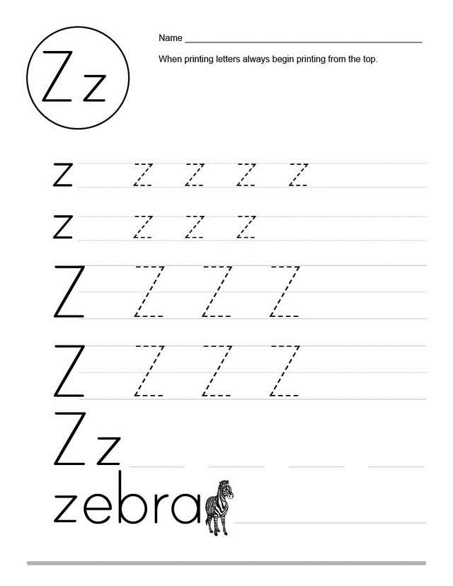 Letter Z Worksheet Tracing