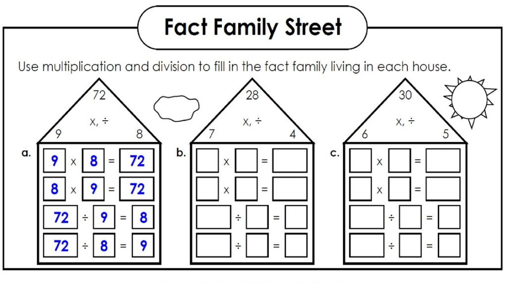 Math Worksheets Fact Families Multiplication