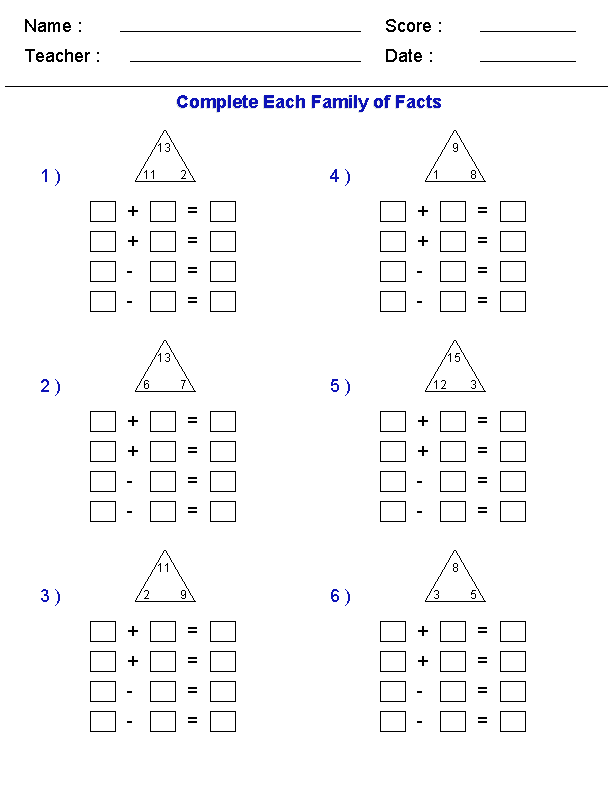 Math Worksheets Fact Families for Third Grade